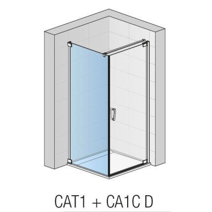 Perete lateral fix Sanswiss Cadura 90cm, sticla securizata transparenta 6mm, profil negru mat