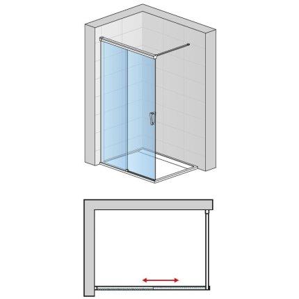 Cabina de dus Walk-in culisanta Sanswiss Cadura 140cm stanga, sticla securizata 6mm