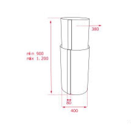 Hota insula Teka CC 485 40 cm, forma cilindrica, 3 trepte + turbo, EcoPower, free outlet 920 m3/h, inox