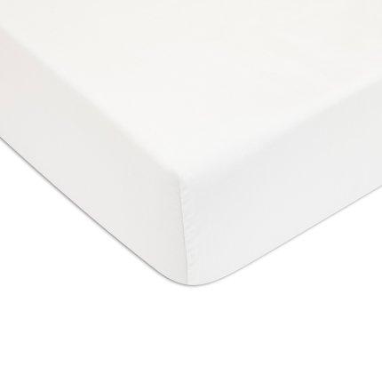 Cearceaf cu elastic Descamps Unis Satin 200x200cm, Alabastru