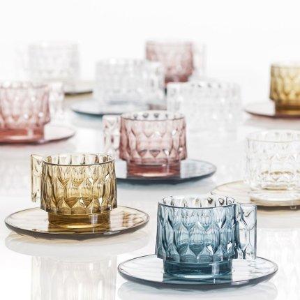 Recipient zahar cu capac Kartell Jellies Family, design Patricia Urquiola, roz transparent