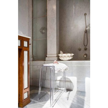 Taburet Kartell Charles Ghost design Philippe Starck, h45cm, albastru transparent