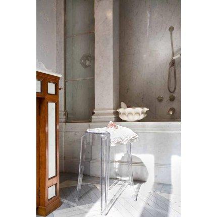 Taburet Kartell Charles Ghost design Philippe Starck, h45cm, alb lucios
