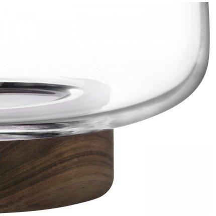 Bol sticla cu suport lemn nuc LSA International City 30cm
