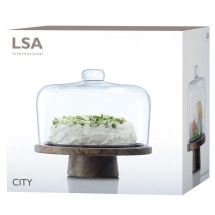 Platou lemn nuc cu capac sticla LSA International City 26cm, h22cm
