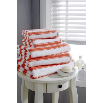 Prosop de baie Behrens Coastal Stripe, Designer Collection, 90x150 cm, 100% bbc, Coral