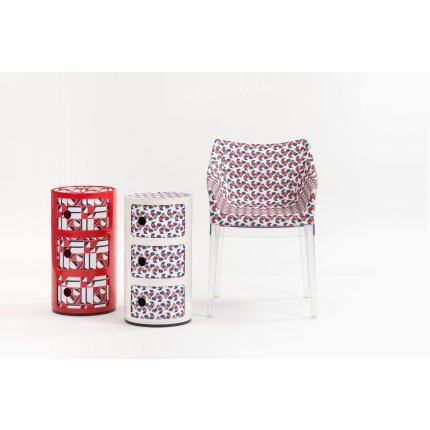 Comoda modulara Kartell Componibili 3 design Anna Castelli Ferrieri, editie Double J, rosu model geometric