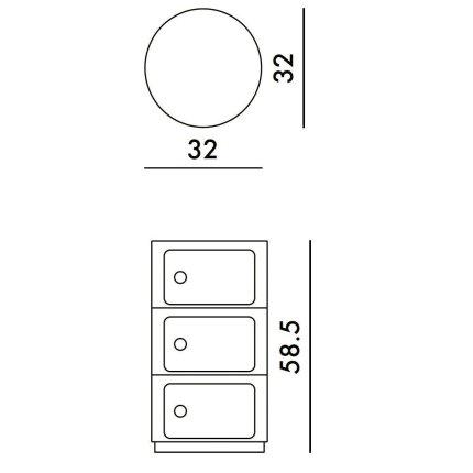 Comoda modulara Kartell Componibili Bio 3 design Anna Castelli Ferrieri, galben