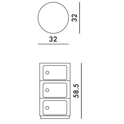 Comoda modulara Kartell Componibili Bio 3 design Anna Castelli Ferrieri, crem