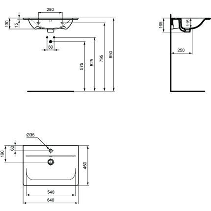 Lavoar Ideal Standard Connect Air 64x46cm, montare pe mobilier