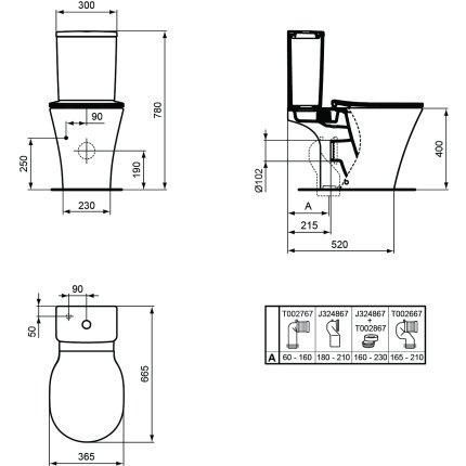 Rezervor ceramica Ideal Standard Connect Air Cube cu alimentare inferioara