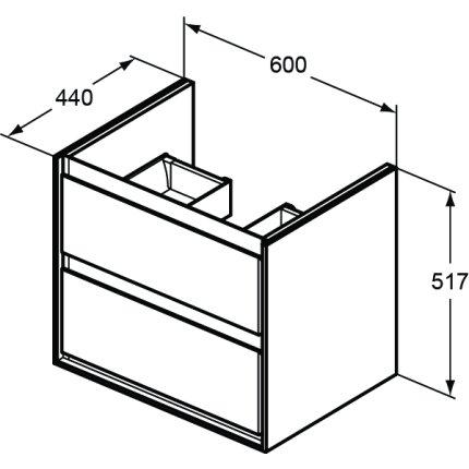 Set mobilier Ideal Standard Connect Air cu dulap baza 60cm, blat si lavoar tip bol 40x40cm