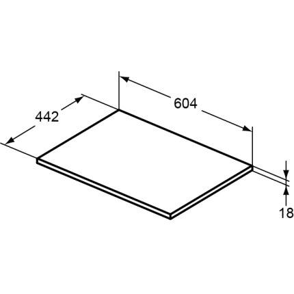Blat mobilier baie Ideal Standard Air 60,4 x 44,2 x 18cm, alb