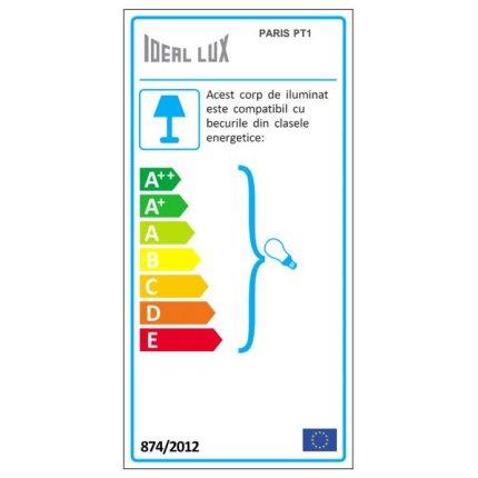 Lampadar Ideal Lux Paris PT1, 1x60W, 38x160cm, argintiu