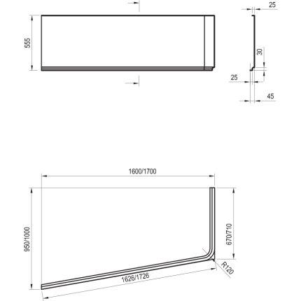 Panou frontal pentru cada asimetrica Ravak Concept 10° 170cm dreapta, alb