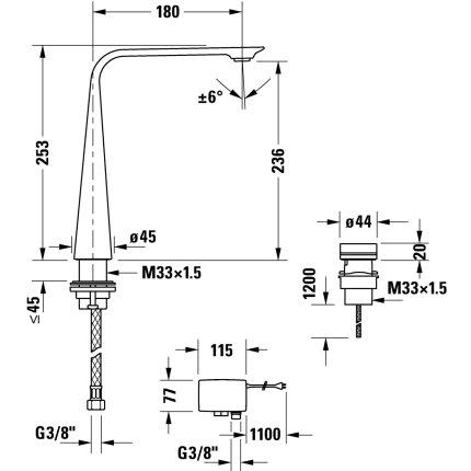 Baterie lavoar electronica Duravit D.1 250 din doua elemente, montare pe lavoar si alimentare la retea 220V, crom