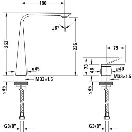 Baterie lavoar Duravit D.1 250 din doua elemente, montare pe lavoar, crom