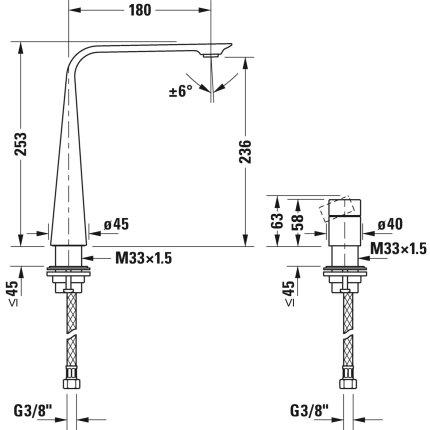 Baterie lavoar Duravit D.1 250 din doua elemente, montare pe lavoar, actionare rotativa, negru mat