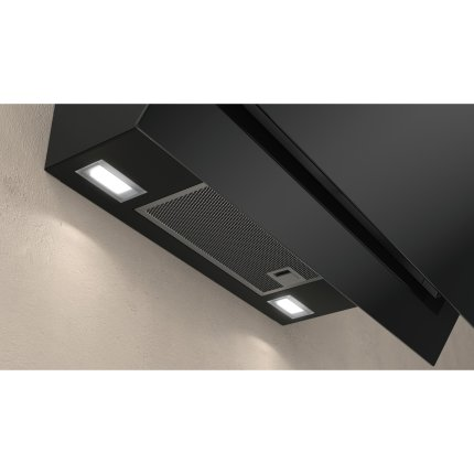 Hota decorativa Neff Line D65IHM1S0 60 cm, design inclinat, 3 trepte + Intensiv, 660 mc/h Intensiv, RimVentilation, sticla neagra