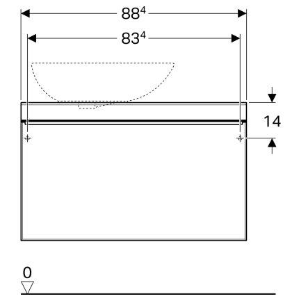 Dulap baza Geberit Citterio 88.4cm, pentru lavoar tip bol, un sertar sticla taupe, corp stejar bej