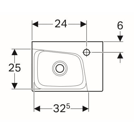 Lavoar asimetric Geberit Xeno2 40x28cm, orificiu baterie dreapta, fara preaplin, montare pe mobilier, KeraTect alb