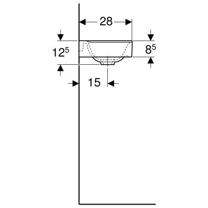 Lavoar asimetric Geberit Xeno2 40x28cm, orificiu baterie stanga, fara preaplin, montare pe mobilier, KeraTect alb