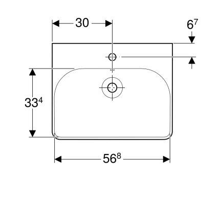Lavoar Geberit Smyle Square 60x48cm, montare pe mobilier, alb