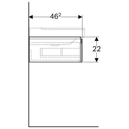 Dulap baza Geberit Xeno2 88x46.2cm decupaj sifon stanga, cu un sertar, alb lucios
