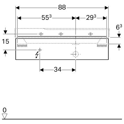 Dulap baza Geberit Xeno2 88x46.2cm decupaj sifon dreapta, cu un sertar, gri structurat