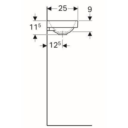 Lavoar Geberit Acanto 40x25cm, orificiu baterie dreapta, fara preaplin, alb