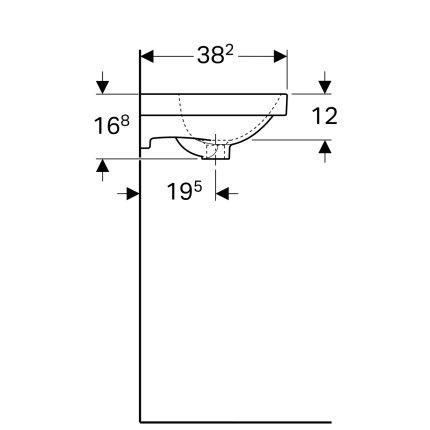 Lavoar Geberit Acanto 45x38.2cm, montare pe mobilier, alb