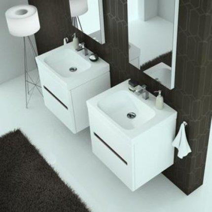 Set mobilier Kolo Modo 60cm cu lavoar si dulap baza cu 2 sertare inchidere lenta, alb lucios