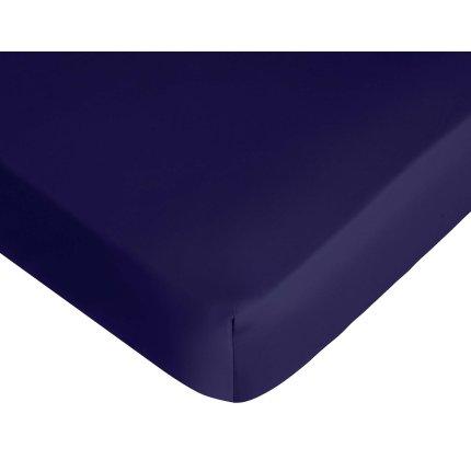 Cearceaf de pat cu elastic Descamps Satin Sublime 200x200cm, Albastru Marin