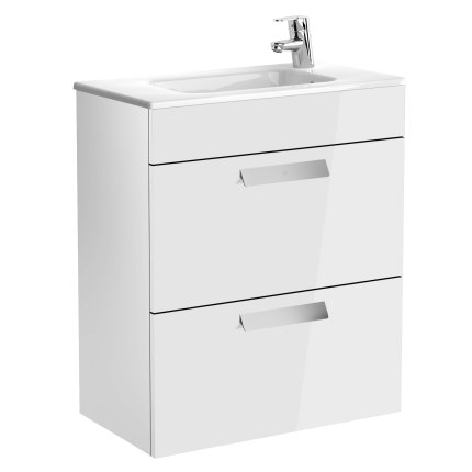 Set mobilier Roca Debba Compact 60cm, dulap cu doua sertare alb lucios si lavoar ceramic