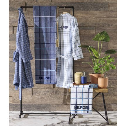 Halat de baie kimono Tommy Hilfiger Denim Checks M, Alb