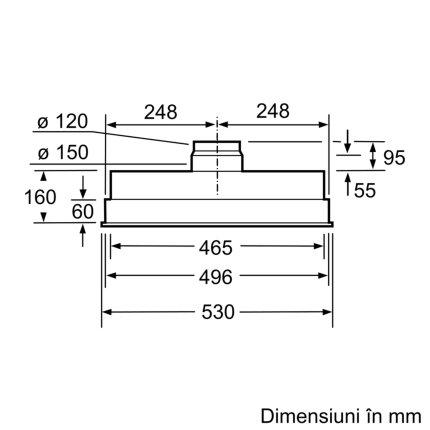 Hota incoprporabila Bosch DHL555BL Serie 4, 50cm, 2 motoare, 3 trepte + Intensiv, 618 m³/h Intensiv, argintiu metalizat