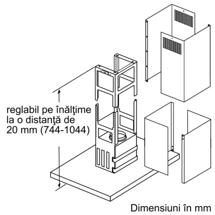 Hota insula Bosch DIB97JP50 Serie 6, 90cm, design box, 3 trepte + 2 Intensiv, 718 m³/h Intensiv, inox