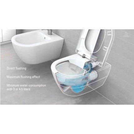 Set vas WC suspendat Villeroy & Boch Arhitectura DirectFlush cu capac inchidere lenta