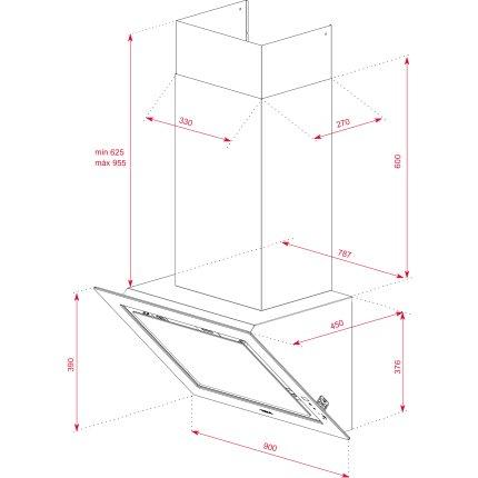 Hota Teka DLV 98660 LB 90cm design vertical, 3 trepte + turbo, max 614m3/h, London Brick