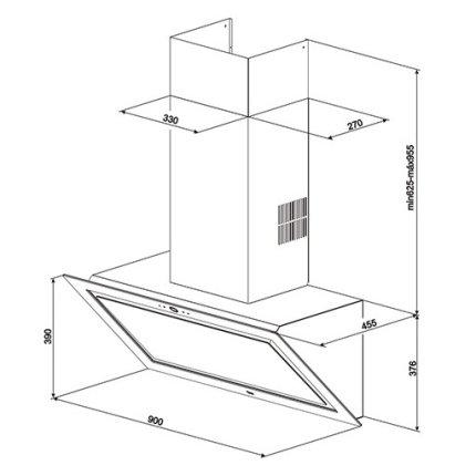 Hota semineu Teka DLV 99670 design vertical, 90cm, 815m3/h turbo, Clasa A++, negru