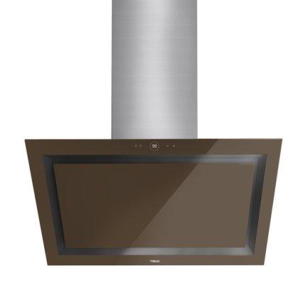 Hota semineu Teka DLV 985 LB 90cm design vertical, 3 trepte + turbo, 2 turbine, max 782m3/h, Cristal London brick brown