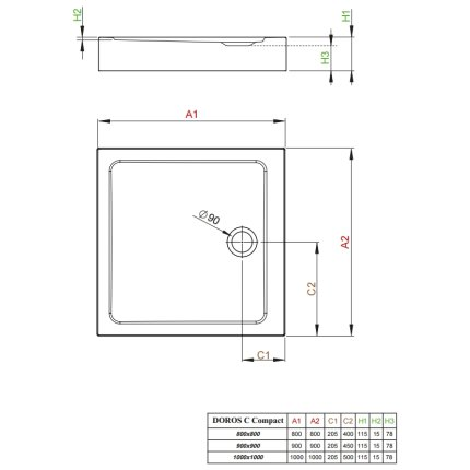 Cadita dus dreptunghiulara Radaway Doros C Compact 100x100x11,5cm