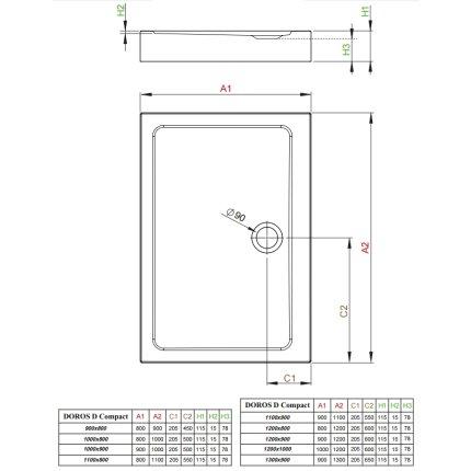 Cadita dus dreptunghiulara Radaway Doros D Compact 120x80x11,5cm