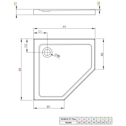 Cadita dus asimetrica Radaway Doros Plus PT 90x90x5cm