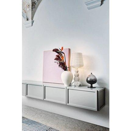 Bol cu picior si capac Kartell Pumo design Fabio Novembre, d21cm, h29cm, transparent-alb