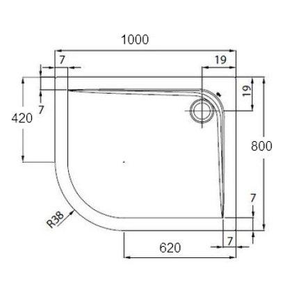 Cadita de dus asimetrica Ideal Standard Ultra Flat 80x100 versiune dreapta