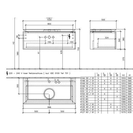 Dulap suspendat cu blat Villeroy & Boch Legato 1000x380hx500 mm Elm Impresso, pentru un lavoar montaj mijloc, iluminare led