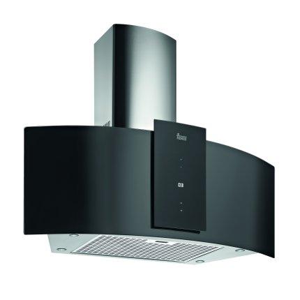 Hota semineu Teka DU 985 90 cm, forma panoramica, 3 trepte + turbo, EcoPower, free outlet 920 m3/h, cristal negru
