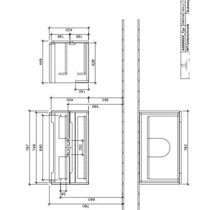 Dulap baza suspendat Villeroy & Boch Subway 2.0 787x420x449 mm Oak Graphite