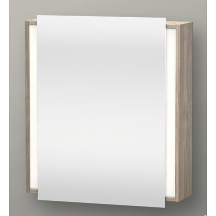 Dulap cu oglinda si iluminare Duravit Ketho 65x75cm, deschidere stanga, pin argintiu